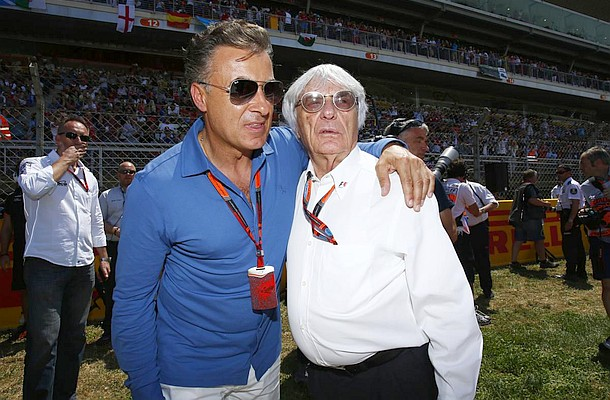 Motorsports: FIA Formula One World Championship 2015, Grand Prix of Spain,  Jean Alesi (FRA), Bernie Ecclestone (GBR, President and CEO of Formula One Management and Formula One Administration),  *** Local Caption *** +++ www.hoch-zwei.net +++ copyright: HOCH ZWEI +++