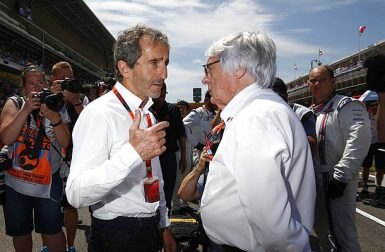 Motorsports: FIA Formula One World Championship 2015, Grand Prix of Spain,  Alain Prost (FRA), Bernie Ecclestone (GBR, President and CEO of Formula One Management and Formula One Administration),  *** Local Caption *** +++ www.hoch-zwei.net +++ copyright: HOCH ZWEI +++