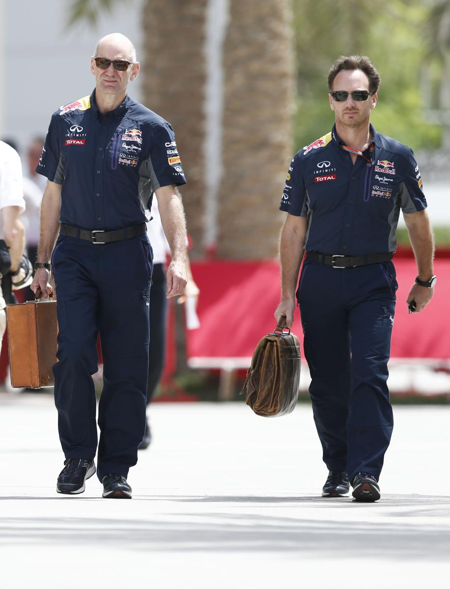 Motorsports: FIA Formula One World Championship 2015, Grand Prix of Bahrain, Adrian Newey (GBR, Infiniti Red Bull Racing), Christian Horner (GBR, Infiniti Red Bull Racing), *** Local Caption *** +++ www.hoch-zwei.net +++ copyright: HOCH ZWEI +++