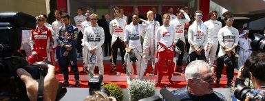 Motorsports: FIA Formula One World Championship 2015, Grand Prix of Monaco,  F1 drivers during national anthem  *** Local Caption *** +++ www.hoch-zwei.net +++ copyright: HOCH ZWEI +++