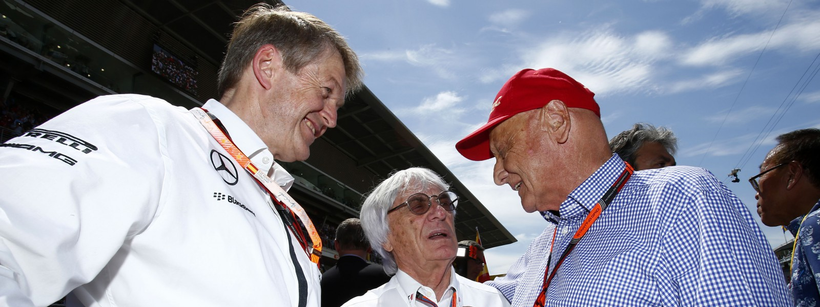 Motorsports: FIA Formula One World Championship 2015, Grand Prix of Spain,  Prof. Dr. Thomas Weber (Member of the Board of Management of Daimler AG), Bernie Ecclestone (GBR, President and CEO of Formula One Management and Formula One Administration), Niki Lauda (AUT, Mercedes AMG Petronas F1 Team),  *** Local Caption *** +++ www.hoch-zwei.net +++ copyright: HOCH ZWEI +++