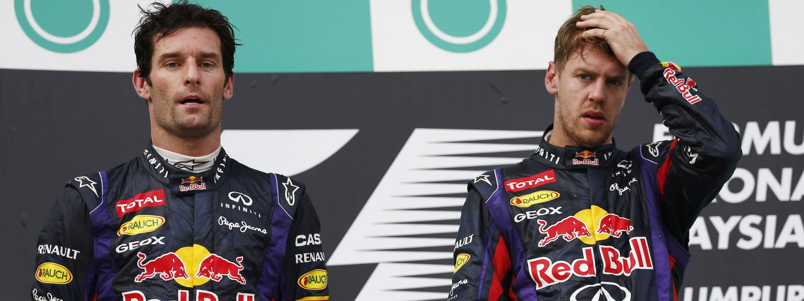 Motorsports: FIA Formula One World Championship 2013, Grand Prix of Malaysia,  #2 Mark Webber (AUS, Infiniti Red Bull Racing), #1 Sebastian Vettel (GER, Infiniti Red Bull Racing),  *** Local Caption *** +++ www.hoch-zwei.net +++ copyright: HOCH ZWEI +++