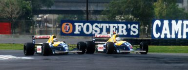 1991 Mexican Grand Prix. Mexico City, Mexico. 14-16 June 1991. Nigel Mansell battles with teammate Riccardo Patrese (both Williams FW14 Renault's). They finished in 2nd and 1st positions respectively Ref-91 MEX 02. World Copyright - LAT Photographic