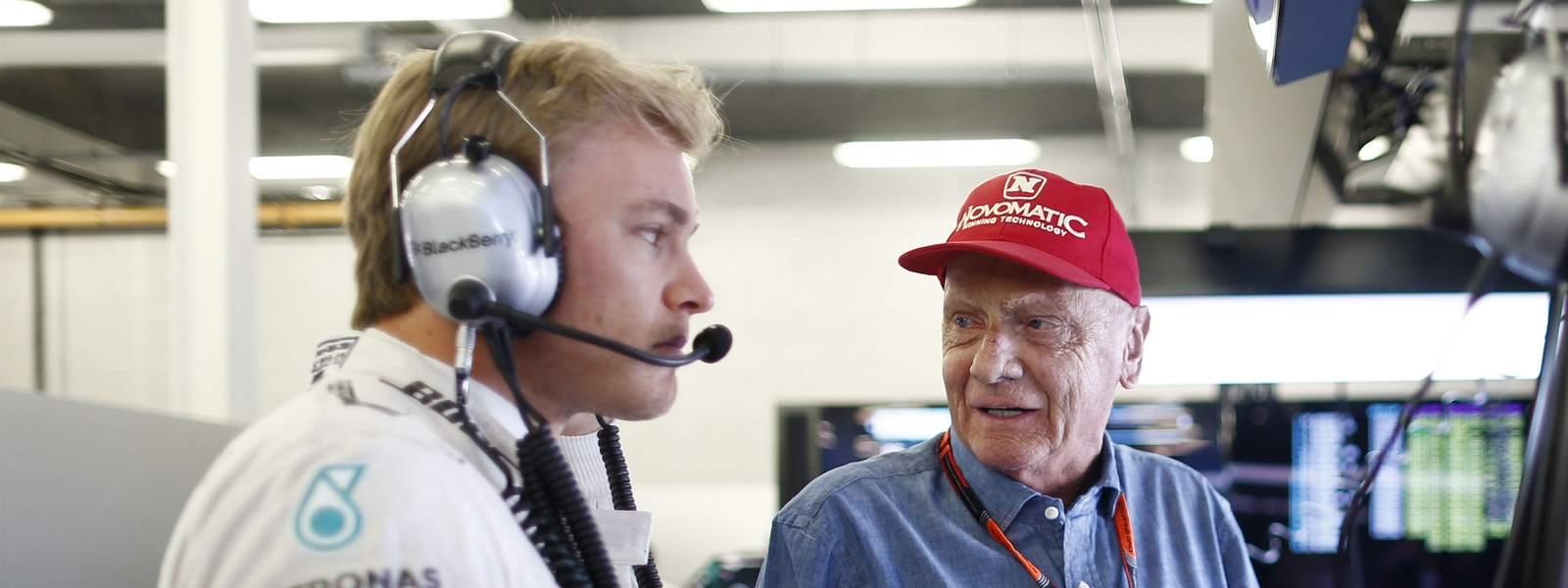 Motorsports: FIA Formula One World Championship 2015, Grand Prix of Great Britain,  #6 Nico Rosberg (GER, Mercedes AMG Petronas Formula One Team), Niki Lauda (AUT, Mercedes AMG Petronas F1 Team),  *** Local Caption *** +++ www.hoch-zwei.net +++ copyright: HOCH ZWEI +++