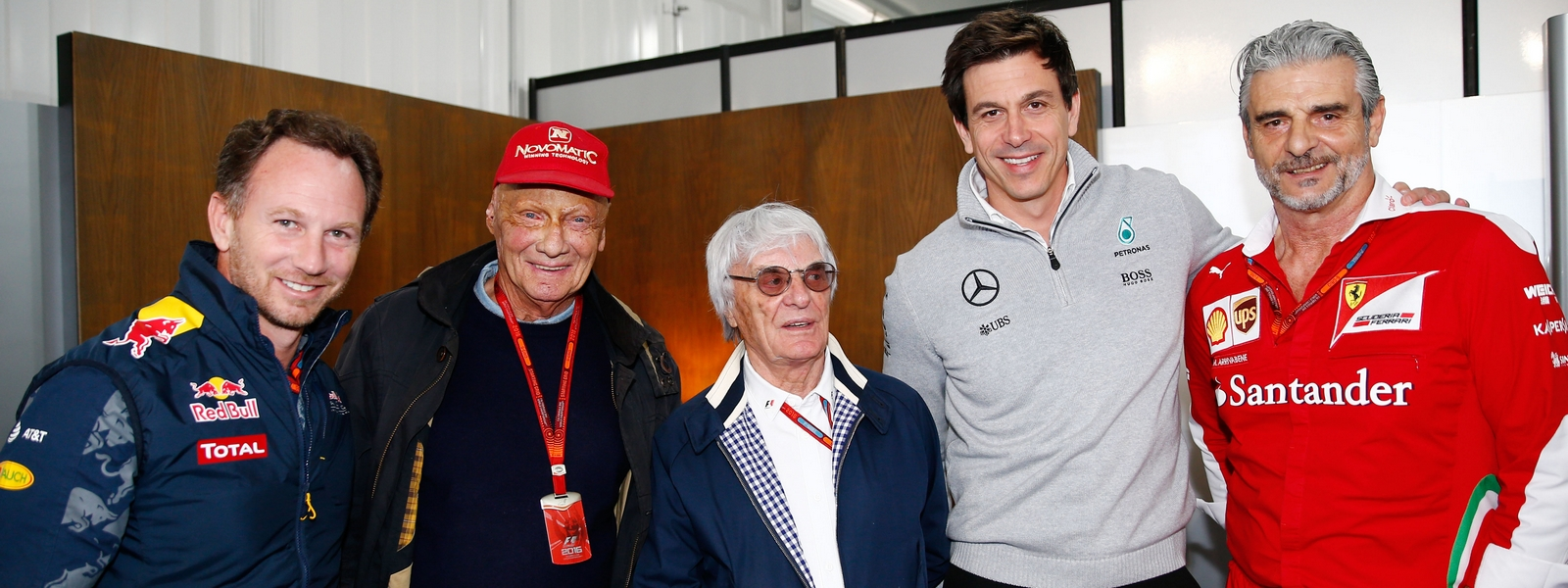 Motorsports: FIA Formula One World Championship 2016, Grand Prix of Mexico,  Christian Horner (GBR, Infiniti Red Bull Racing), Niki Lauda (AUT, Mercedes AMG Petronas Formula One Team),  Bernie Ecclestone, Toto Wolff (AUT, Mercedes AMG Petronas Formula One Team),  Mauricio Arrivabene *** Local Caption *** +++ www.hoch-zwei.net +++ copyright: HOCH ZWEI +++