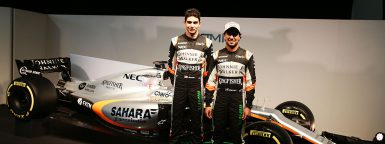 (L to R): Esteban Ocon (FRA) Sahara Force India F1 Team with team mate Sergio Perez (MEX) Sahara Force India F1 and the Sahara Force India F1 VJM10. Sahara Force India F1 VJM10 Launch, Wednesday 22nd February 2017. Silverstone, England.
