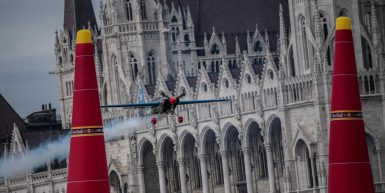 Petr Kopfstein of the Czech Republic performs during race day at the fourth round of the Red Bull Air Race World Championship in Budapest, Hungary on July 2, 2017.