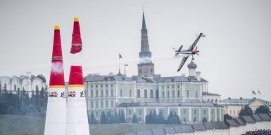 Peter Podlunsek of Slovenia performs during race day at the fifth round of the Red Bull Air Race World Championship in Kazan, Russia on July 23, 2017.