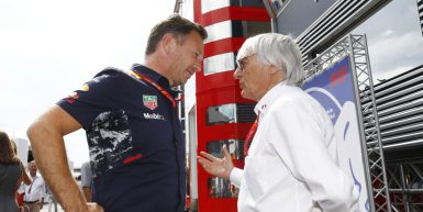 Motorsports: FIA Formula One World Championship 2017, Grand Prix of Austria,  Christian Horner (GBR, Red Bull Racing), Bernie Ecclestone (GBR),  *** Local Caption *** +++ www.hoch-zwei.net +++ copyright: HOCH ZWEI +++