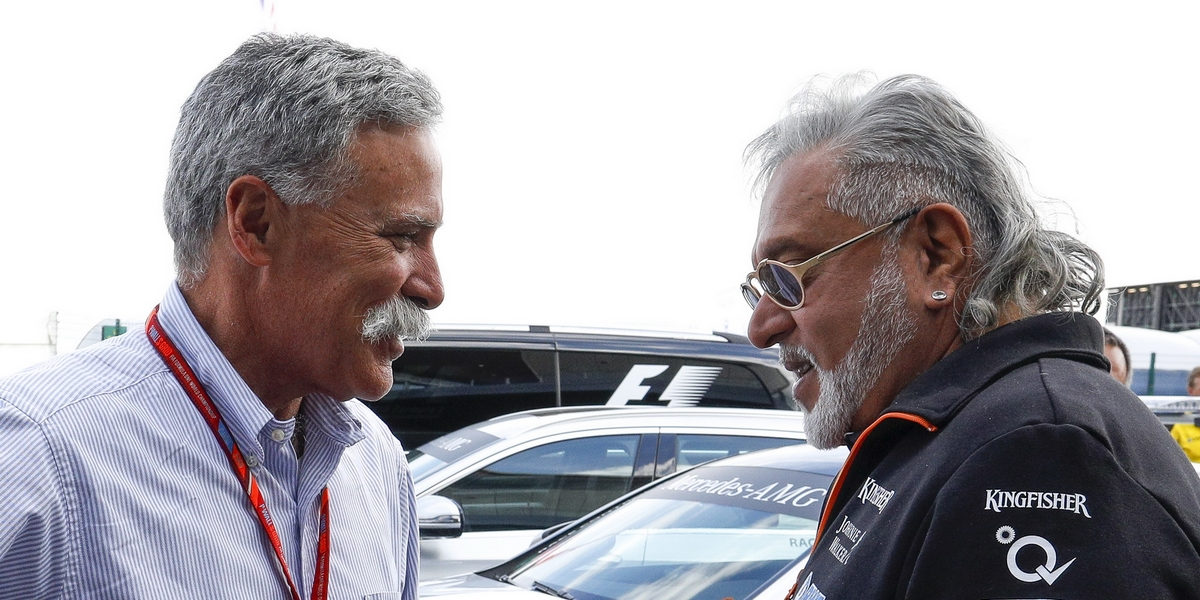 Motorsports: FIA Formula One World Championship 2017, Grand Prix of Great Britain,   Chase Carey (CEO and Executive Chairman of Formula One Group),  Dr. Vijay Mallya (IND, Sahara Force India F1 Team), *** Local Caption *** +++ www.hoch-zwei.net +++ copyright: HOCH ZWEI +++