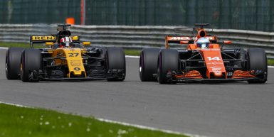 Motorsports: FIA Formula One World Championship 2017, Grand Prix of Belgium,  #31 Esteban Ocon (FRA, Sahara Force India F1 Team), #27 Nico Hulkenberg (GER, Renault Sport F1 Team), #14 Fernando Alonso (ESP, McLaren Honda),  *** Local Caption *** +++ www.hoch-zwei.net +++ copyright: HOCH ZWEI +++