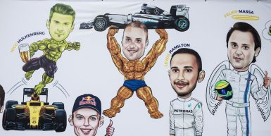 Motorsports: FIA Formula One World Championship 2017, Grand Prix of Singapore,  drawings of #27 Nico Hulkenberg (GER, Renault Sport F1 Team), #33 Max Verstappen (NLD, Red Bull Racing), #77 Valtteri Bottas (FIN, Mercedes AMG Petronas F1 Team), #44 Lewis Hamilton (GBR, Mercedes AMG Petronas F1 Team) and #19 Felipe Massa (BRA, Williams Martini Racing) *** Local Caption *** +++ www.hoch-zwei.net +++ copyright: HOCH ZWEI +++