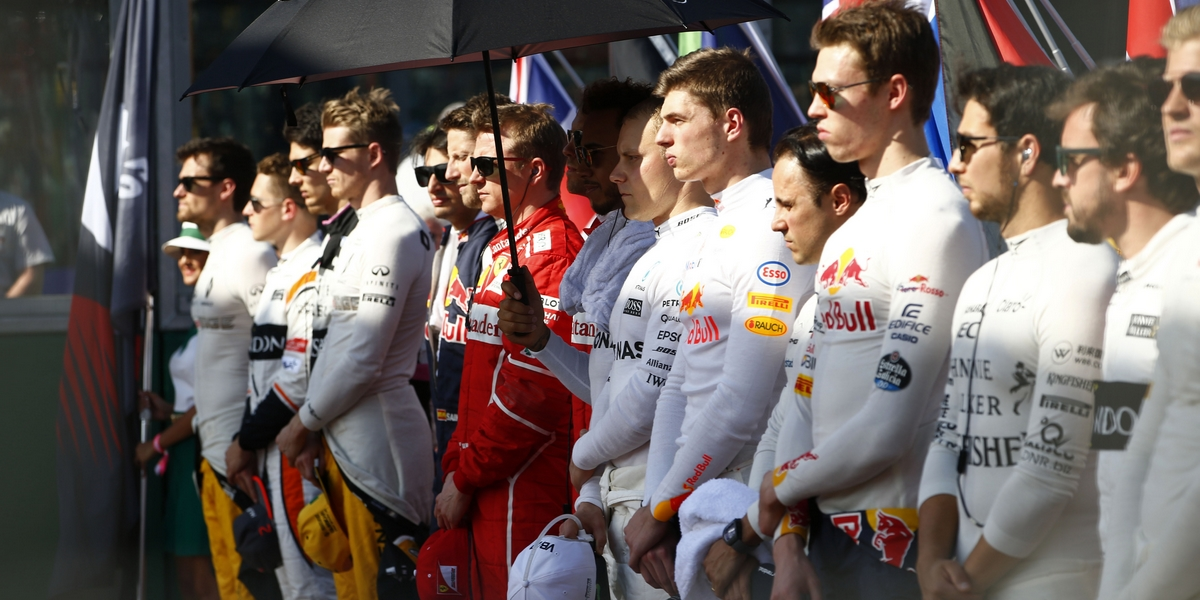 Melbourne, Victoria : Motorsports: FIA Formula One World Championship 2017 on March, 25, 2017, Melbourne: FIA Formula One World Championship,  F1 driver line up for national anthem Australian Formula One Grand Prix at Albert Park on March 24, 2017 in Melbourne, Australia. (Photo by Hoch Zwei)